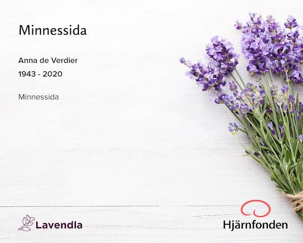 Inbjudningskort till ceremonin för Anna de Verdier
