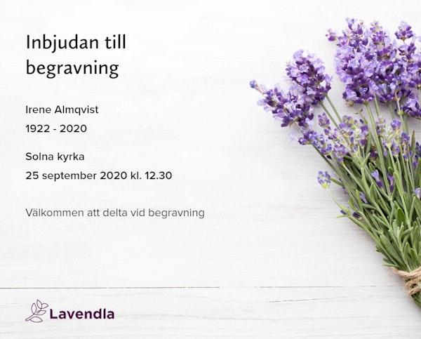 Inbjudningskort till ceremonin för Irene Almqvist