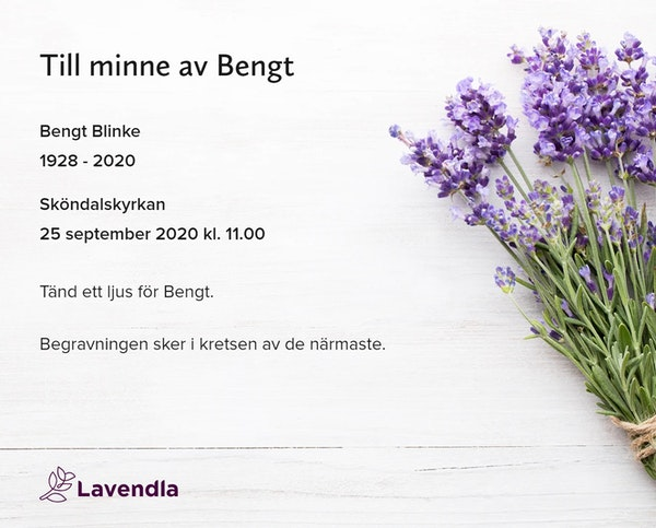 Inbjudningskort till ceremonin för Bengt Blinke
