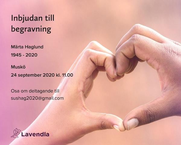 Inbjudningskort till ceremonin för Märta Haglund