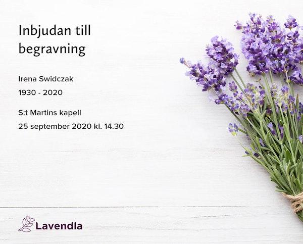 Inbjudningskort till ceremonin för Irena Swidczak