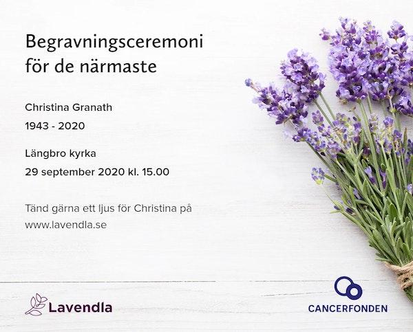 Inbjudningskort till ceremonin för Christina Granath