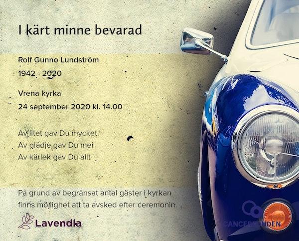 Inbjudningskort till ceremonin för Rolf Gunno Lundström