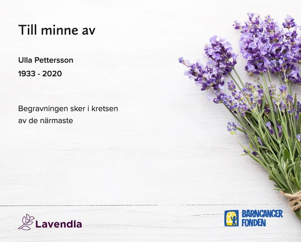 Inbjudningskort till ceremonin för Ulla Pettersson