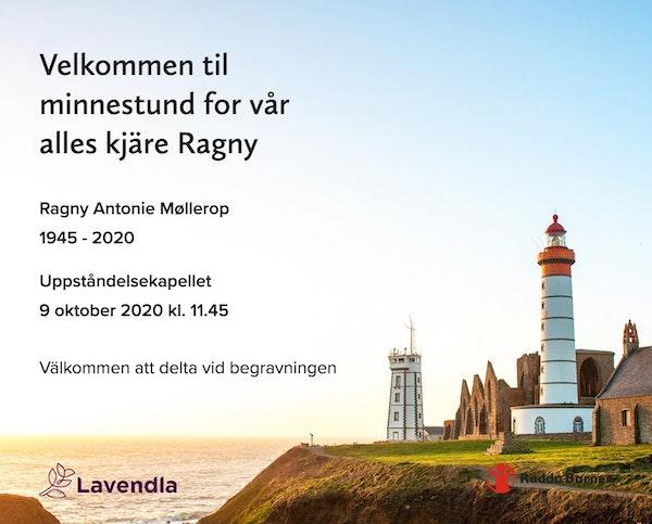Inbjudningskort till ceremonin för Ragny Antonie Møllerop