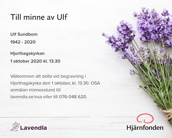 Inbjudningskort till ceremonin för Ulf Sundbom