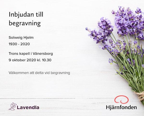 Inbjudningskort till ceremonin för Solweig Hjelm
