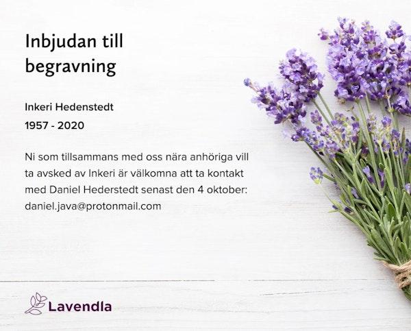 Inbjudningskort till ceremonin för Inkeri Hedenstedt