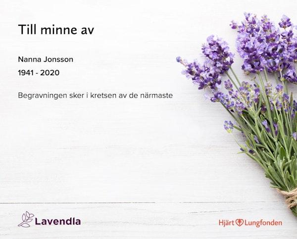 Inbjudningskort till ceremonin för Nanna Jonsson