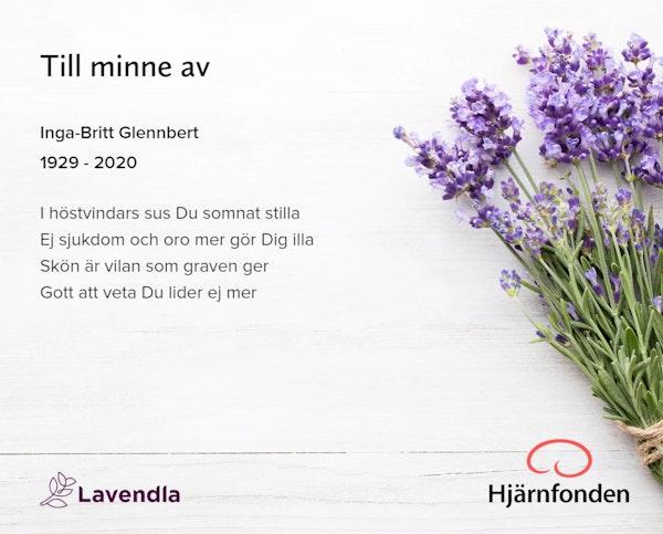 Inbjudningskort till ceremonin för Inga-Britt Glennbert