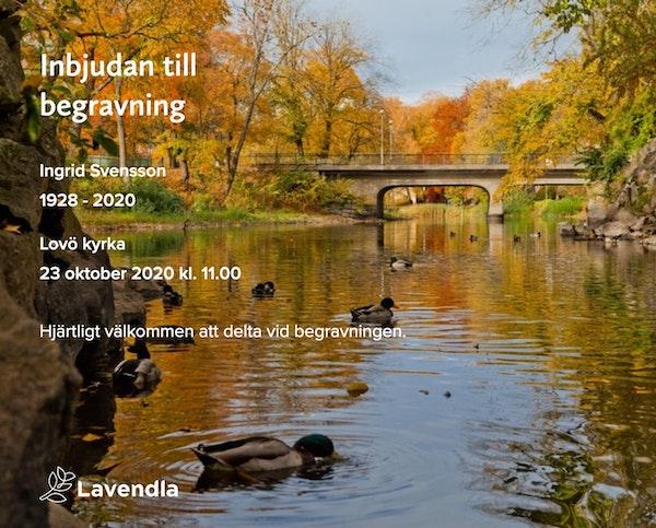 Inbjudningskort till ceremonin för Ingrid Svensson