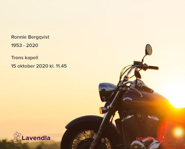 Inbjudningskort till ceremonin för Ronnie Bergqvist