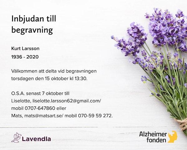 Inbjudningskort till ceremonin för Kurt Larsson