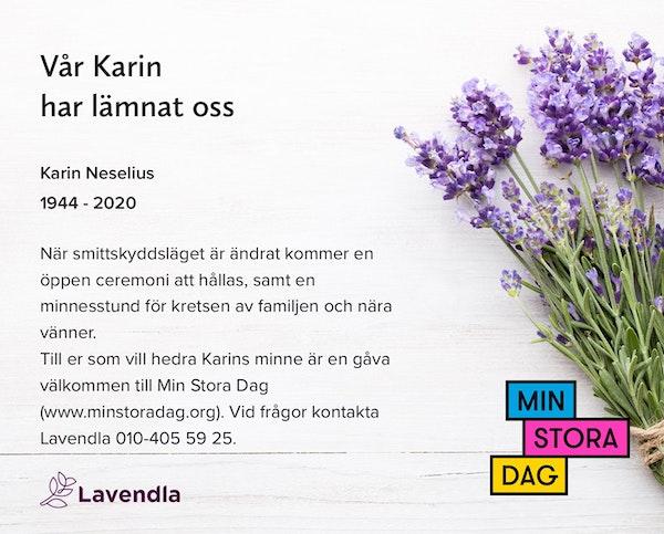 Inbjudningskort till ceremonin för Karin Neselius