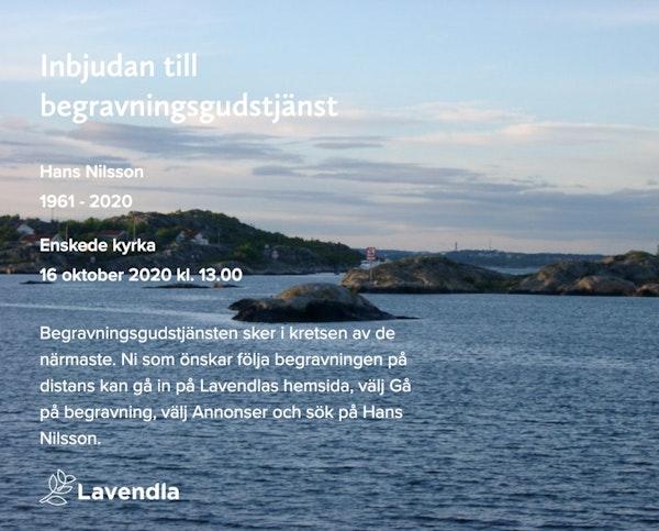 Inbjudningskort till ceremonin för Hans Nilsson