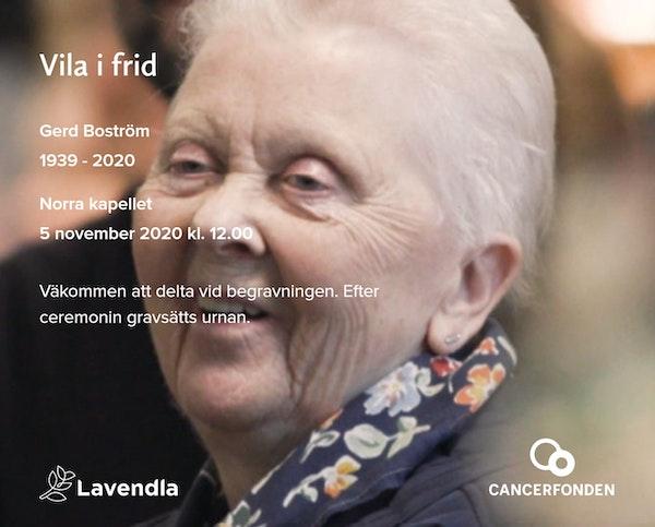 Inbjudningskort till ceremonin för Gerd Boström