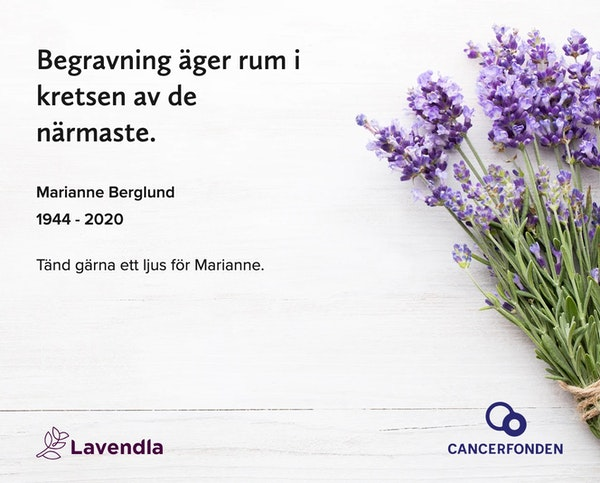 Inbjudningskort till ceremonin för Marianne Berglund