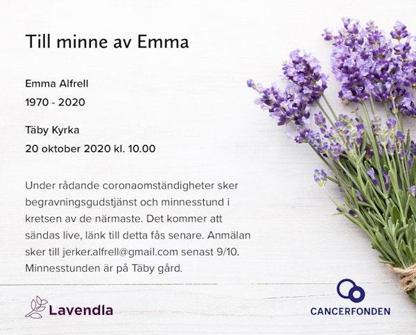 Inbjudningskort till ceremonin för Emma Alfrell