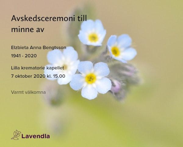 Inbjudningskort till ceremonin för Elzbieta Anna Bengtsson