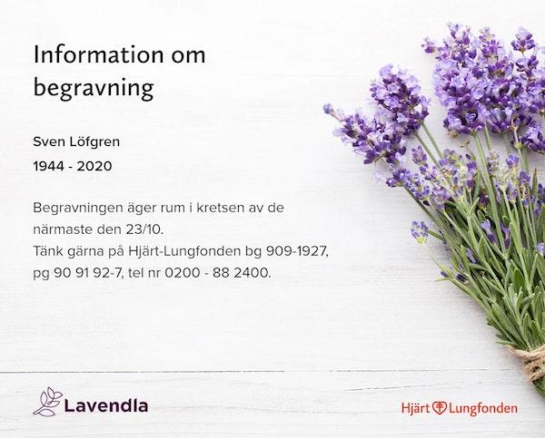 Inbjudningskort till ceremonin för Sven Löfgren