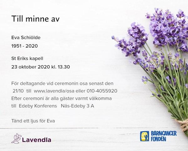 Inbjudningskort till ceremonin för Eva Schiölde