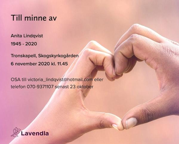 Inbjudningskort till ceremonin för Anita Lindqvist