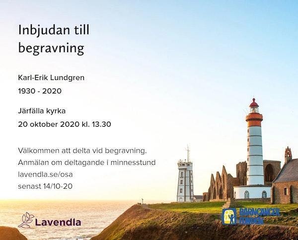 Inbjudningskort till ceremonin för Karl-Erik Lundgren