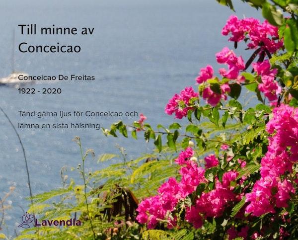 Inbjudningskort till ceremonin för Conceicao De Freitas