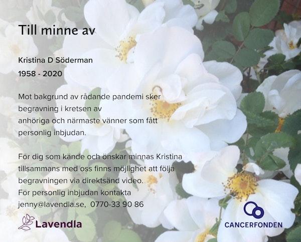 Inbjudningskort till ceremonin för Kristina D Söderman