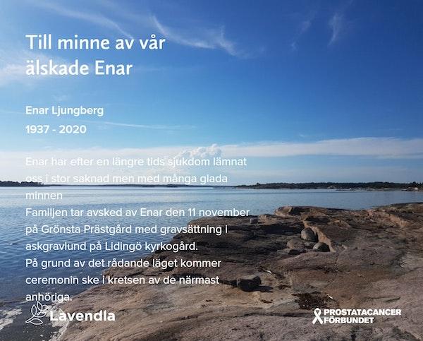 Inbjudningskort till ceremonin för Enar Ljungberg