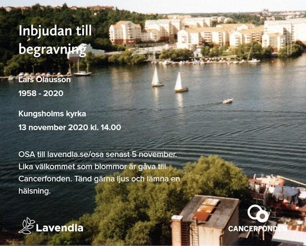 Inbjudningskort till ceremonin för Lars Olausson