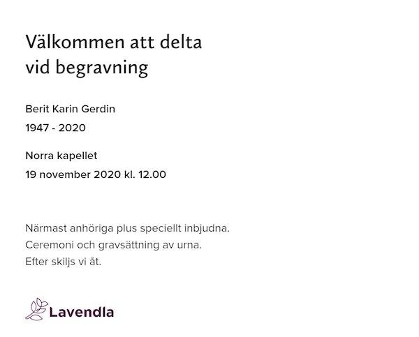 Inbjudningskort till ceremonin för Berit Karin Gerdin
