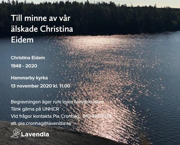 Inbjudningskort till ceremonin för Christina Eidem