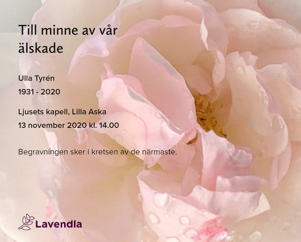 Inbjudningskort till ceremonin för Ulla Tyrén