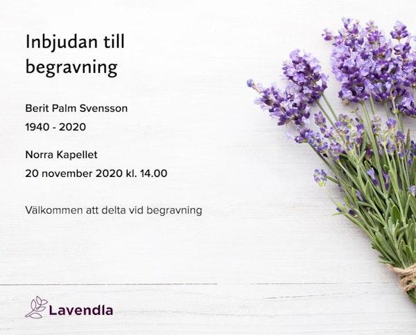 Inbjudningskort till ceremonin för Berit Palm Svensson