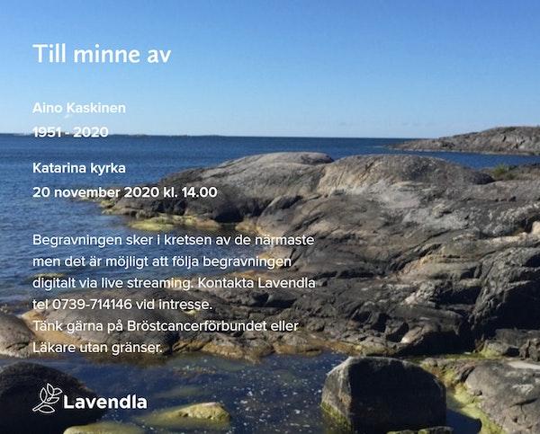 Inbjudningskort till ceremonin för Aino Kaskinen
