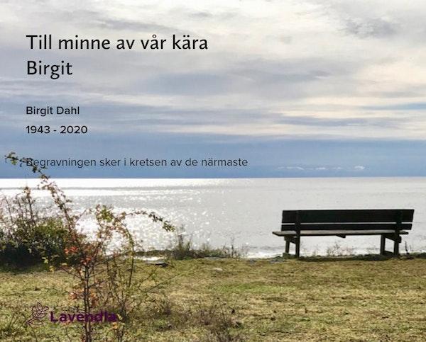 Inbjudningskort till ceremonin för Birgit Dahl