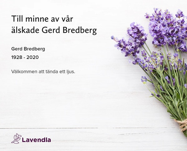 Inbjudningskort till ceremonin för Gerd Bredberg