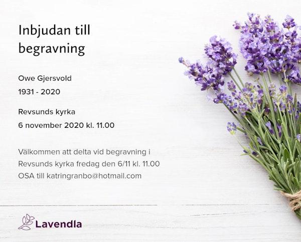 Inbjudningskort till ceremonin för Owe Gjersvold