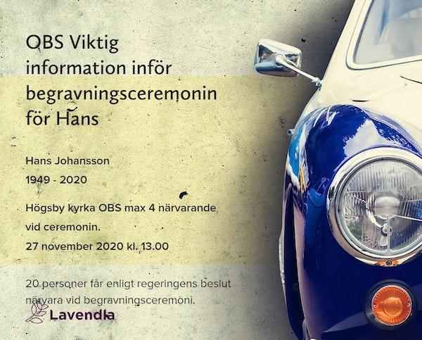 Inbjudningskort till ceremonin för Hans Johansson