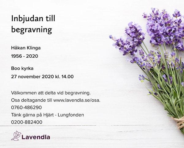 Inbjudningskort till ceremonin för Håkan Klinga