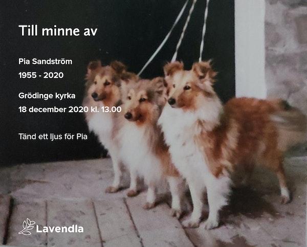 Inbjudningskort till ceremonin för Pia Sandström