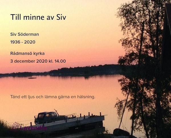 Inbjudningskort till ceremonin för Siv Söderman