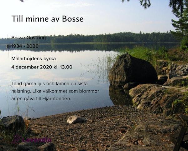 Inbjudningskort till ceremonin för Bosse Göstring