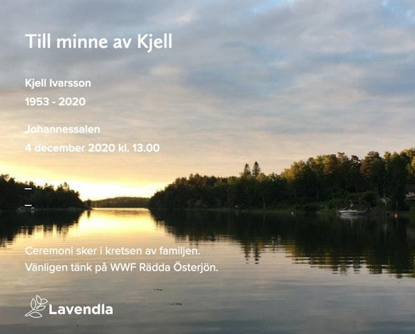 Inbjudningskort till ceremonin för Kjell Ivarsson