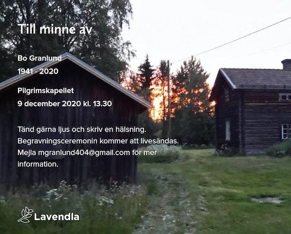 Inbjudningskort till ceremonin för Bo Granlund