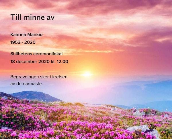 Inbjudningskort till ceremonin för Kaarina Mankio
