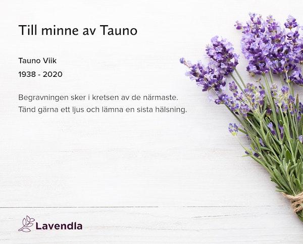 Inbjudningskort till ceremonin för Tauno Viik