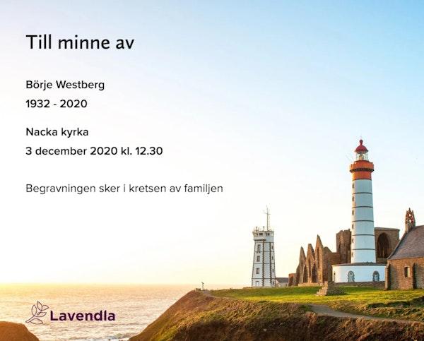 Inbjudningskort till ceremonin för Börje Westberg