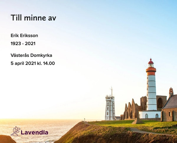 Inbjudningskort till ceremonin för Erik Eriksson